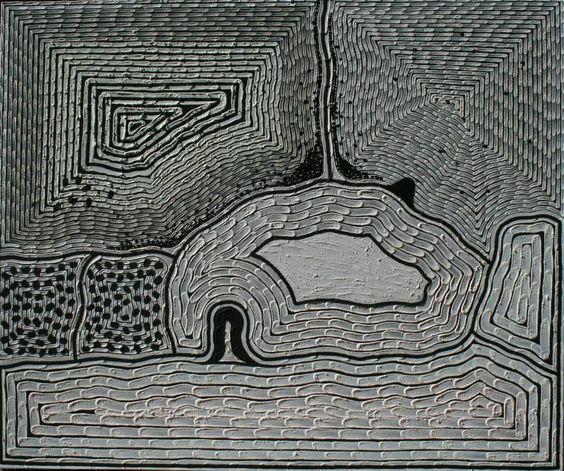 Claude Carter, Goonboorooru, 2013, pure Kimberly ochres on canvas, 180 x 150. For more Aboriginal art visit us at www.mccullochandmcculloch.com.au #aboriginalart #australianart #contemporaryart