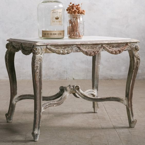 I love how much character this little table has. Eloquence One of a Kind Vintage Coffee Table Chipped White Wash #laylagrayce #bunnywilliamshome