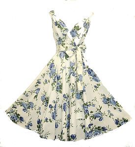 New Ladies Vtg 1950s Ivory Floral Blue Rose Print Summer Pin-up Swing Tea Dress | eBay