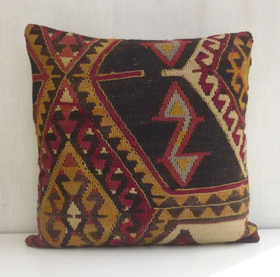 Bohemian Home Decor Kilim Cushion cover Rustic by PillowTalkOnEtsy, $42.00