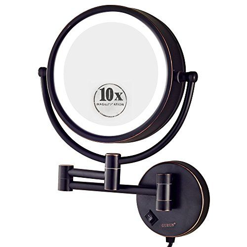 Gurun 85 Inch Led Lighted Wall Mount Makeup Mirror With 10x Magnificationoilrubbed Bronze Finish M1809do8 Wall Mounted Makeup Mirror Black Makeup Mirror Mirror