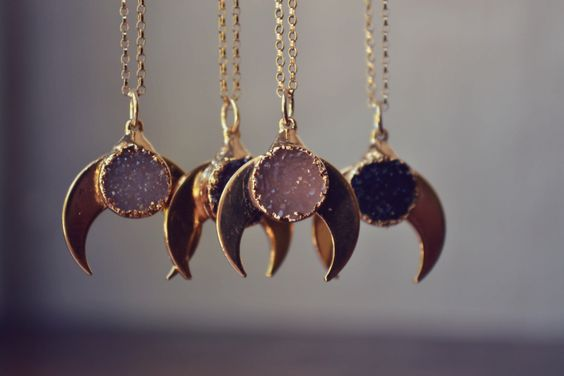 BABY MOONBEAM /// Handcrafted Druzy Necklace /// 24kt Gold Plate /// Moon Necklace by luxdivine on Etsy https://www.etsy.com/listing/204382333/baby-moonbeam-handcrafted-druzy-necklace