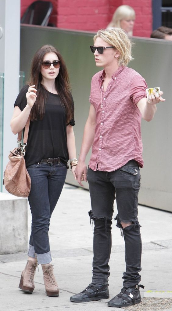 Lily Collins (with Jamie Campbell Bower) Shoes