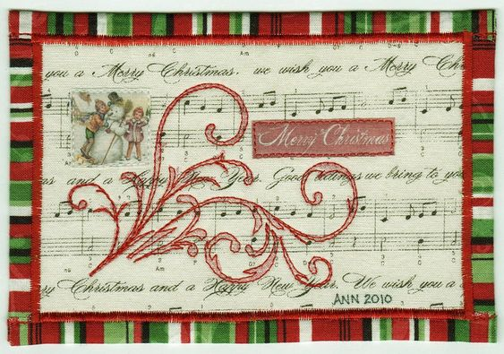 Merry Christmas fabric postcard: Stitched Postcards, Fabric Postcards Mug, Christmas Fabric, Postcards Atc, Quilting Fabric Postcards, Postcards Fabric, Postcards Mini S, Fabric Cards Postcards
