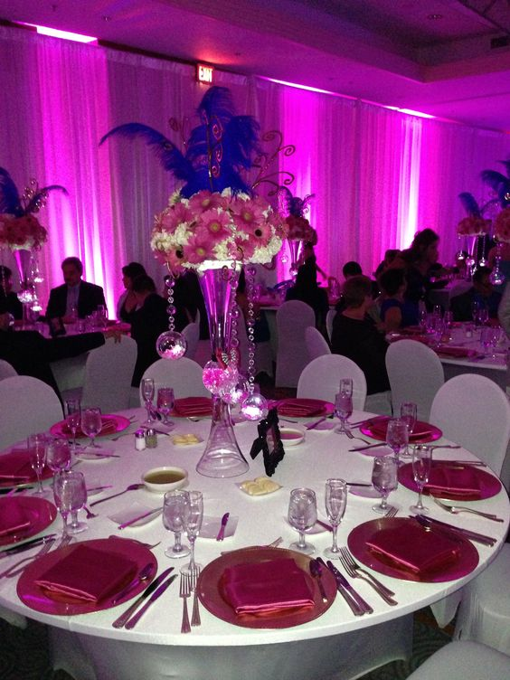 Quinceanera centerpiece flowers and lights rental