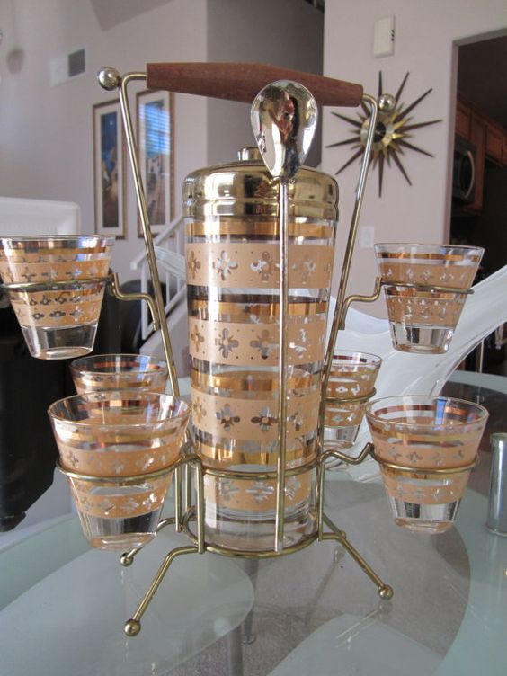 RESERVED For Jen - Mid Century Cocktail Bar Set, Shaker with 6 Glasses in Tall Caddy