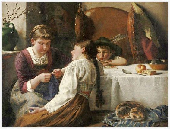 J.Dietrich 19/20-th c. «The Knitting Lesson»: