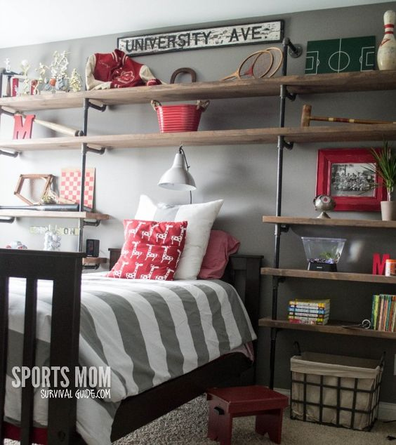 A great way to decorate your boy's room - Vintage Sports Theme Kid's Room with DIY industrial shelves. Just like Restoration hardware at a fraction of the cost. For Jack??: