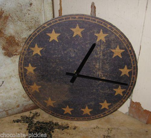 Americana Wall Clock Navy Blue 13 Gold Star Primitive Colonial Decor Clock Colonial Decor Wall Clock