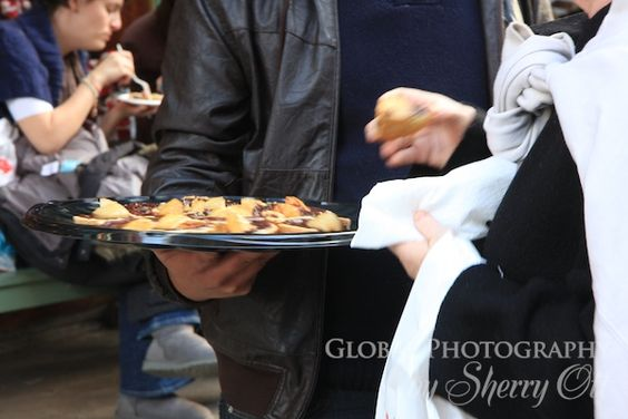 Eating samples during NY Food tour in  Greenwich Village