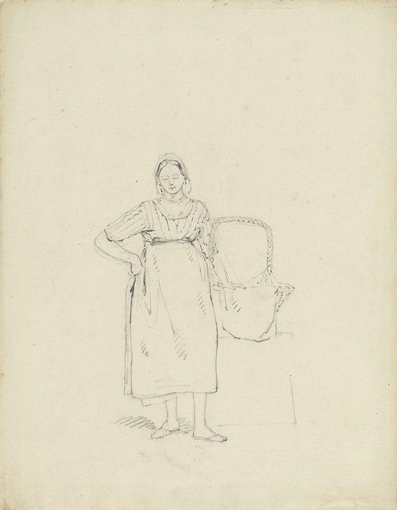 Pieter van Loon | Schets van een staande vrouw met een mand, Pieter van Loon, 1811 - 1873 |