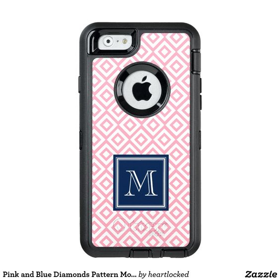 Pink and Blue Diamonds Pattern Monogrammed OtterBox iPhone 6/6s Case