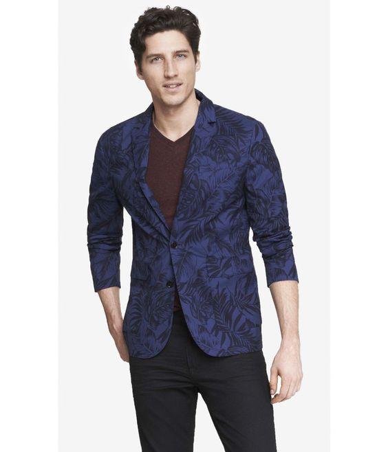Express Lightweight Hawiian Floral Print Blazer Suit Jacket Navy