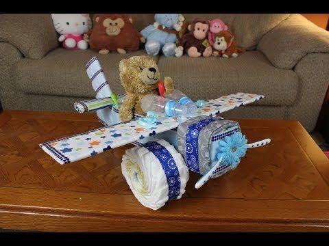 Boys Airplane Diaper Cake Youtube Baby Pinterest