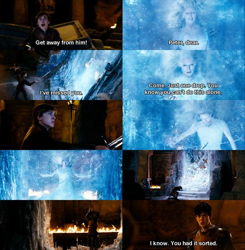 i love this scene between the two brothers. Peter thinks he can do everything by himself and is entranced by the witch. Edmund knows better. He takes his chance and shoves Peter's arrogance into his face. This is why Edmund is my fav.