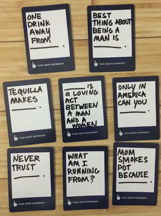Hilarious ideas for blank cards in cards against humanity game or DIY your own cards against humanity