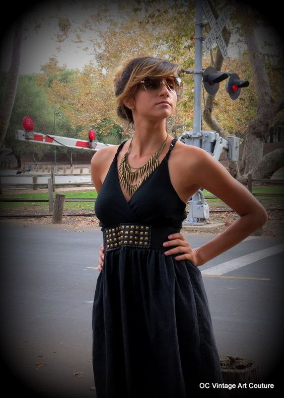 Tank Dress Studded with Brass Studs Cross by OCVintageArtCouture, $15.99: