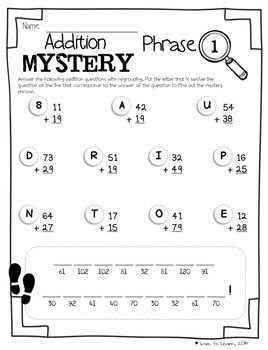 math worksheet : regrouping math mystery phrases  math printables and student : Math Mystery Picture Worksheets