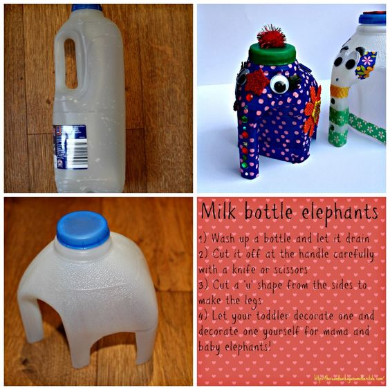 Step by step Milk Bottle Elephant tutorial a really sweet idea for getting toddlers interested in crafting and to start a conversation about recycling too!