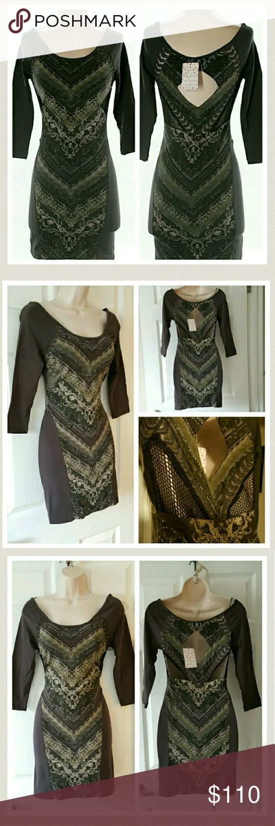 SALE ❤ Free People Charcoal Bodycon Dress XS New with tags ...