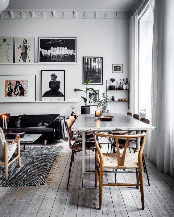 Die Farbkombination aus Weiß, schwarz, Creme und Holz toll - wohnzimmer schwarz holz