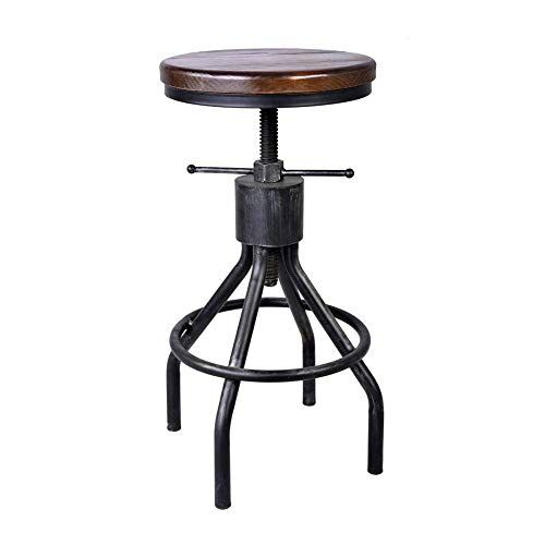 Qaz Bar Stool Footrest Round Wooden Seat Kitchen Breakfast Pub Counter Bar Stools Bar Chairs Brown 60 80cm Counter Bar Stools Bar Chairs Foot Rest