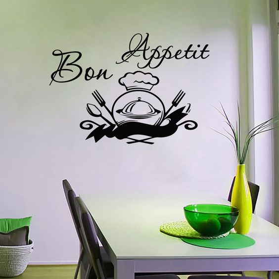Wall Decals Kitchen Bon Appetit Sign Decal Spoon Dish Fork Vinyl Sticker MA184