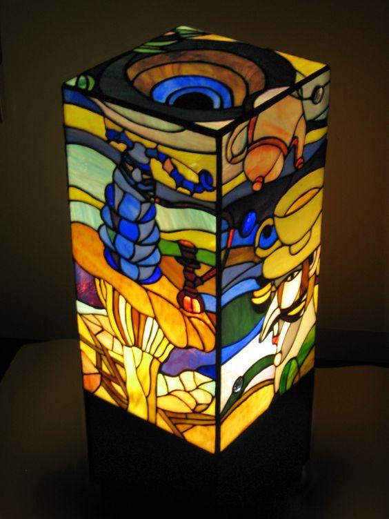 "Stained glass lamp ""Alice in wonderland"". night light Tiffany technique Home design Decor"