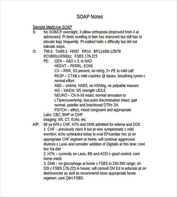 Soap Note Template – 9+ Free Word, Pdf Format Download! | Free