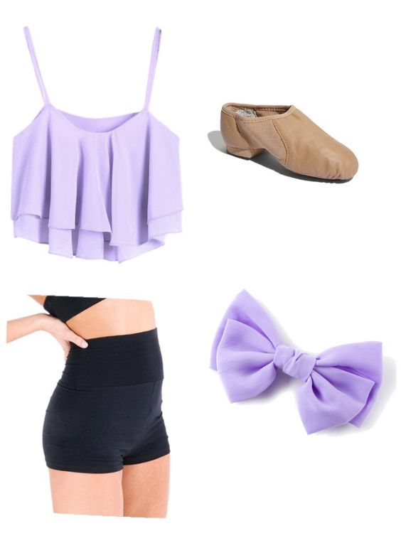 Purple crop top, black high waisted dance shorts, tan jazz shoes, and a purple hair bow
