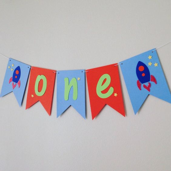 Space theme banner . Rocket ship banner . by twinepaperscissors