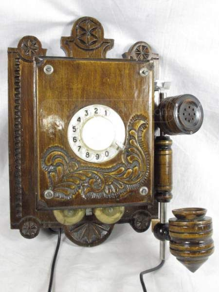 wood case telephone old style wiring dial ring ring. Black Bedroom Furniture Sets. Home Design Ideas