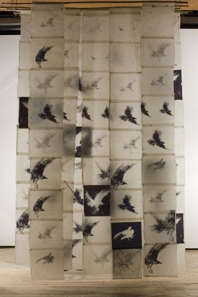 vjeranski:    Bird Screen II, Catherine Eaton Skinner, Tibetan Paper/Archival Ink/Encaustic/Thread/Bamboo