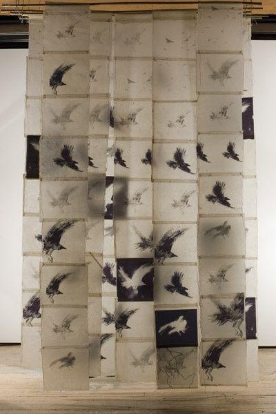 vjeranski:    Bird Screen II, Catherine Eaton Skinner, Tibetan Paper/Archival Ink/Encaustic/Thread/Bamboo