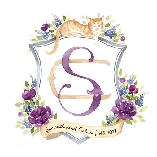 Watercolor Wedding Crest with pet cat — Blushed Designs