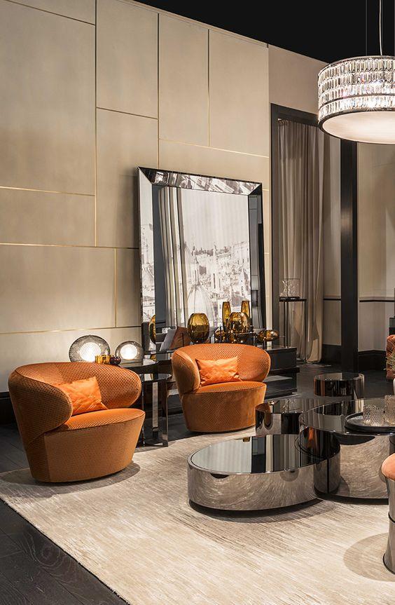 Fendi casa borromini sofa eos armchairs constellation for Luxury living group