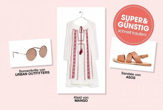 Das weiße Sommerkleid mit geometrischer Stickerei weckt Ethno-Feelings zusammen mit der Retro-Sonnenbrille und den Unisex-Sandalen aus Leder