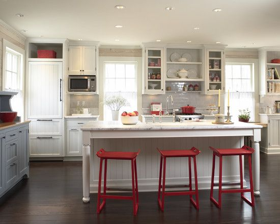 kitchen with red accent