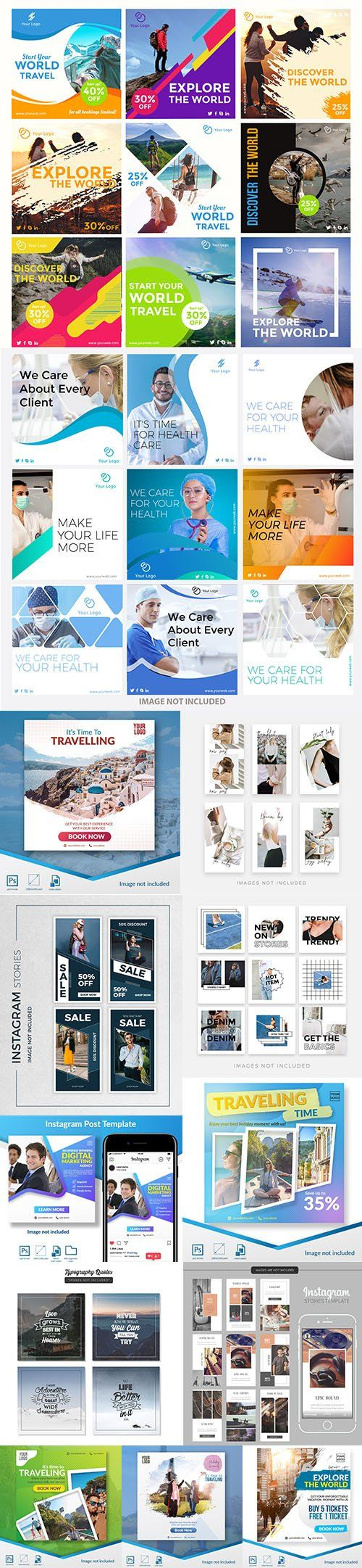 Social Media Post PSD and EPS Template Set 8