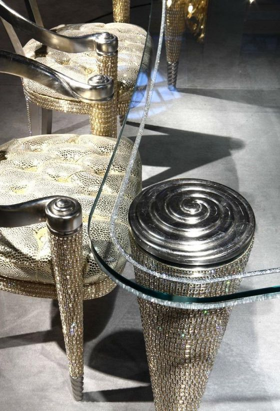 Faceted Swarovski Crystals showcased on luxury furniture collection | Pursuitist Luxury