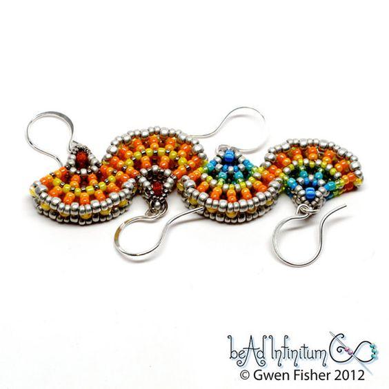 Ginkgo Leaf Beaded Earrings Rainbow Sterling Silver by gwenbeads - 49.00