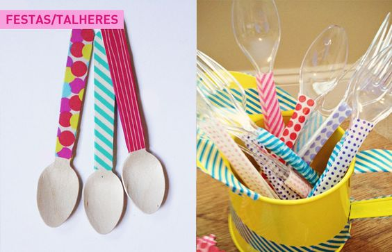 Talheres decorados com washi tape