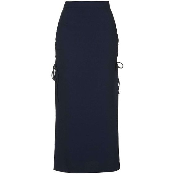**Tie-Side Skirt by Love ($56) ❤ liked on Polyvore featuring navy blue