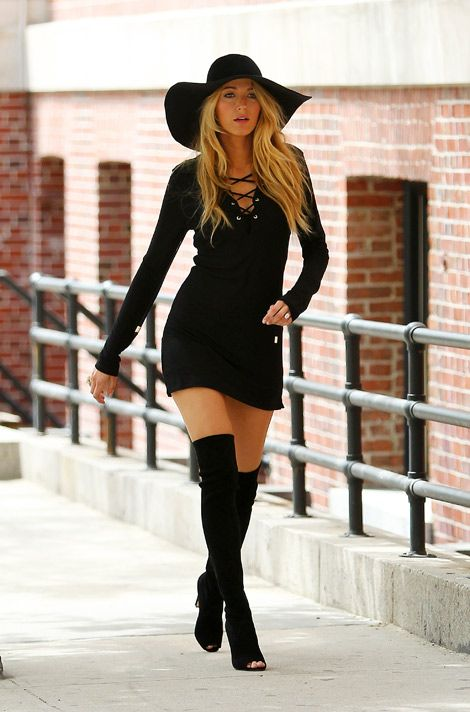 Celebrities in Boots: Blake Lively in Thigh High Boots. Photo ...