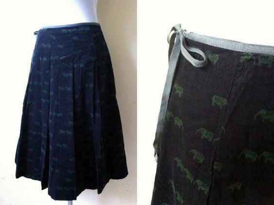 SALE: black elephant print A line skirt (28 inches) by VintageHomage