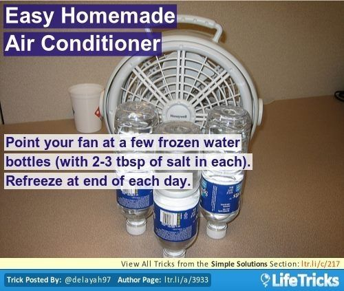 Point your fan at a few frozen water bottles (with 2-3 tbsp of salt in each). Refreeze at end of each day. by deena