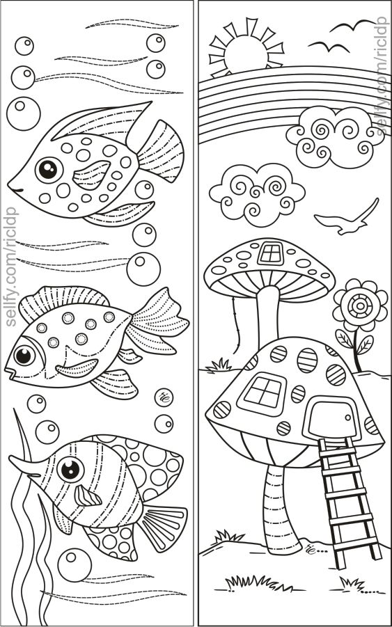 8 Simple Designs Coloring Bookmarks Cute Coloring Pages