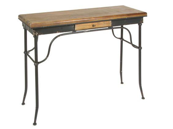 Escritorio clásico de hierro y madera