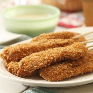 Divertidas Piruletas de Pollo al Horno, cenas rápidas y sanas para niños con pan rallado, panko y hechas al horno