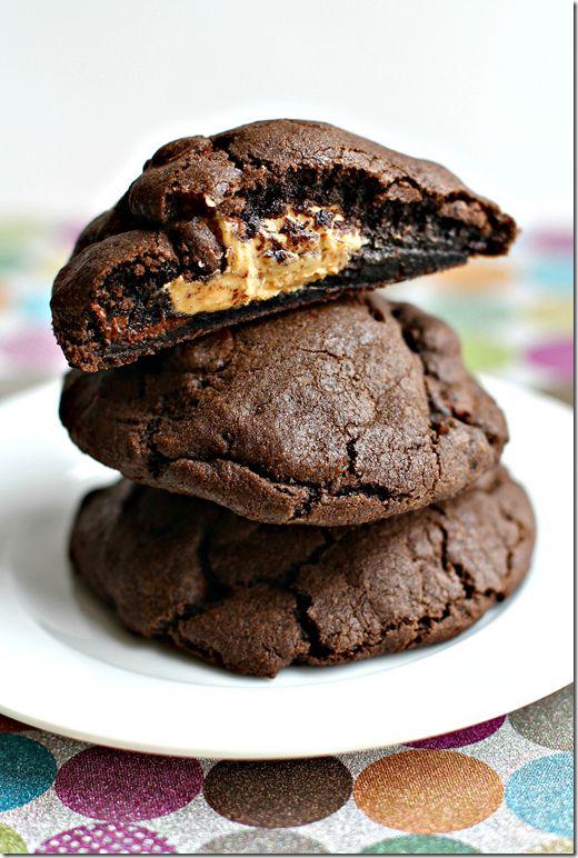 Chocolate Peanut Butter Stuffed Cookies. #cookies #dessert ...